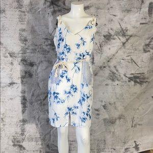 Ethereal Paper Crane white blue floral sun dress M